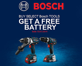 BUY SELECT BOSCH TOOLS - GET A FREE BATTERY - Offer ends October 31, 2019