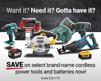Save On Select Cordless Power Tools