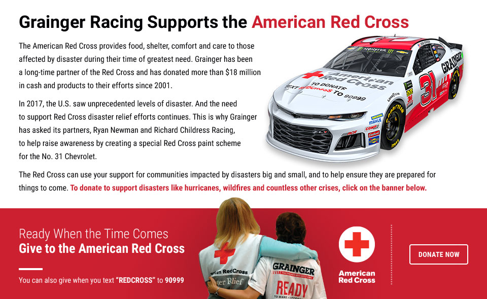 Grainger Racing Supports the Red Cross - Donate Now